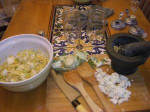 Equipment and veggies for fermentation
