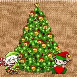 Cartoon Christmas tree with elves
