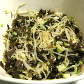 Bean sprout and wood ear salad